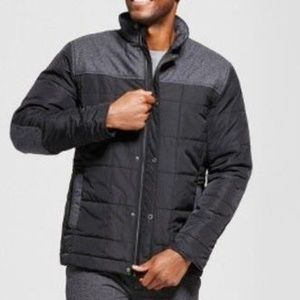 Mens Black & Gray Jacket Small Quilted Parka Wool